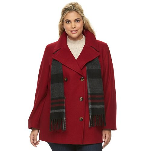 f0fce4cdb6339 Plus Size Towne by London Fog Double-Breasted Peacoat with Scarf