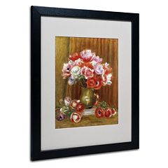 Trademark Fine Art 'Anemones 1909' Matted Black Framed Wall Art by Pierre Renoir