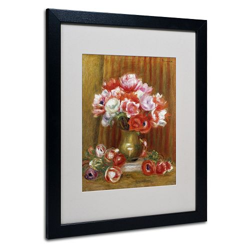"Trademark Fine Art ""Anemones 1909"" Matted Black Framed Wall Art by Pierre Renoir"