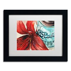 Trademark Fine Art Ball Jar Red Lily Matted Black Framed Wall Art