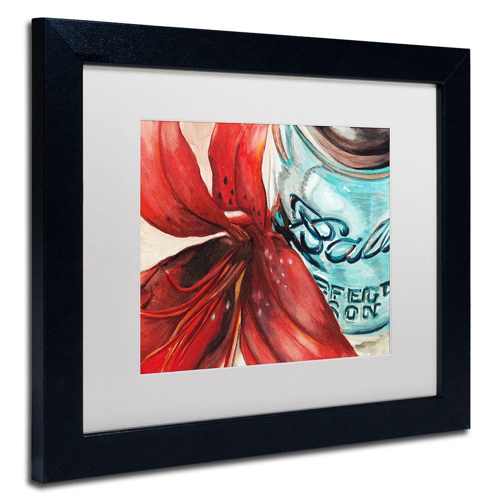 Trademark Fine Art Ball Jar Red Lily Matted Black Framed Wall Art