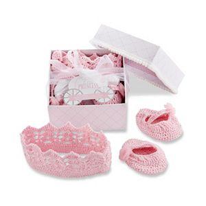 Baby Aspen Little Princess Knit Crochet Headband & Booties Gift Set