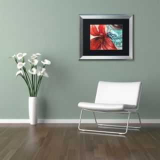 Trademark Fine Art Ball Jar Red Lily Silver Finish Matted Framed Wall Art