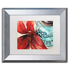 Trademark Fine Art Ball Jar Red Lily Silver Finish Matted Framed Wall Art