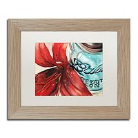Trademark Fine Art Ball Jar Red Lily Birch Finish Matted Framed Wall Art