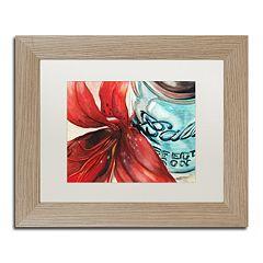 Trademark Fine Art Ball Jar Red Lily Birch Finish Matted Framed Wall Art