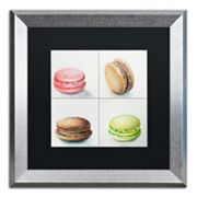 Trademark Fine Art 4 Macarons Silver Finish Matted Framed Wall Art
