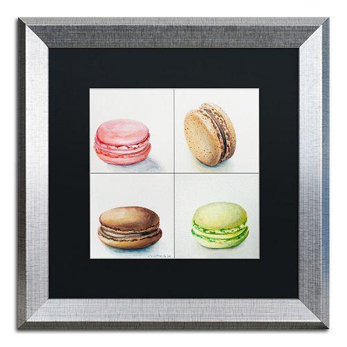 Trademark Fine Art 4 Macarons Silver Finish Matted Framed Wall Art