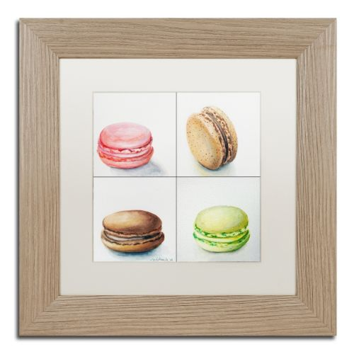Trademark Fine Art 4 Macarons Birch Finish Matted Framed Wall Art
