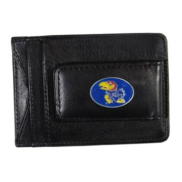 Kansas Jayhawks Black Leather Cash & Card Holder