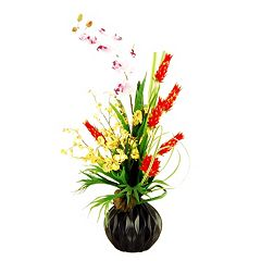 Designs by Lauren Artificial Bromeliads, Orchid & Stag Horn Fern Arrangement