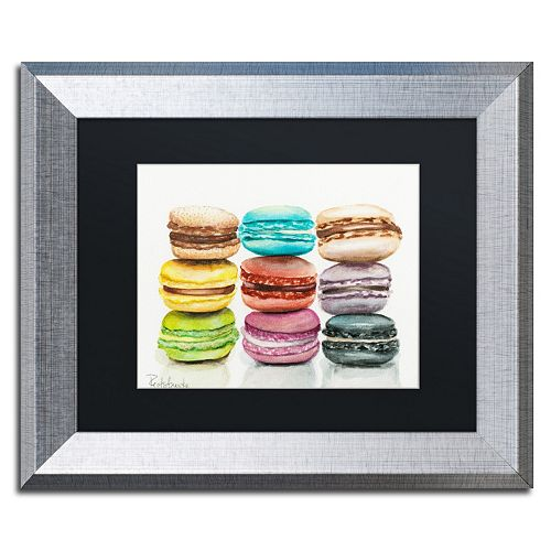 Trademark Fine Art 9 Macarons Silver Finish Matted Framed Wall Art