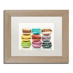 Trademark Fine Art 9 Macarons Birch Finish Matted Framed Wall Art