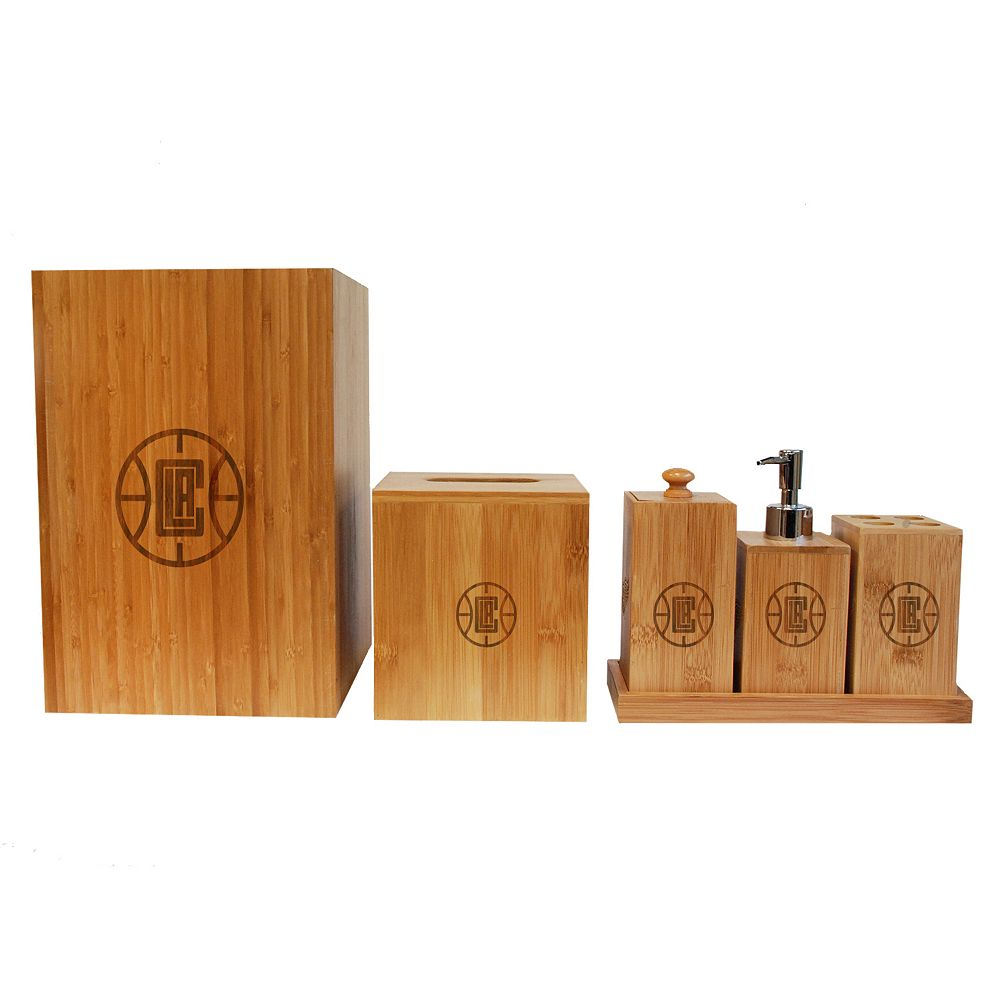 los angeles clippers 6 piece bamboo bathroom accessories set
