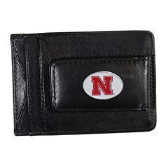 Nebraska Cornhuskers Black Leather Cash & Card Holder