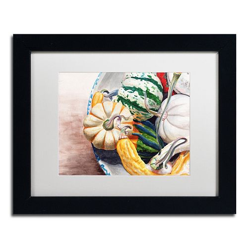 Trademark Fine Art Autumn Gourds Matted Black Framed Wall Art