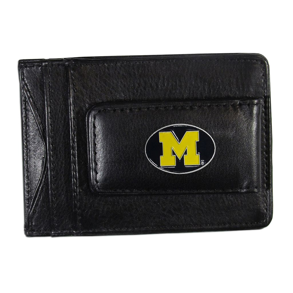 Michigan Wolverines Black Leather Cash & Card Holder