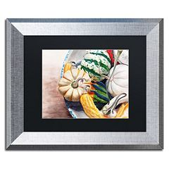 Trademark Fine Art Autumn Gourds Birch Finish Framed Wall Art
