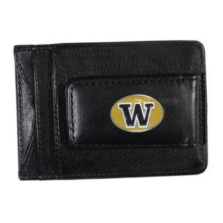 Washington Huskies Black Leather Cash & Card Holder