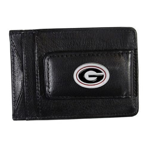 Georgia Bulldogs Black Leather Cash & Card Holder