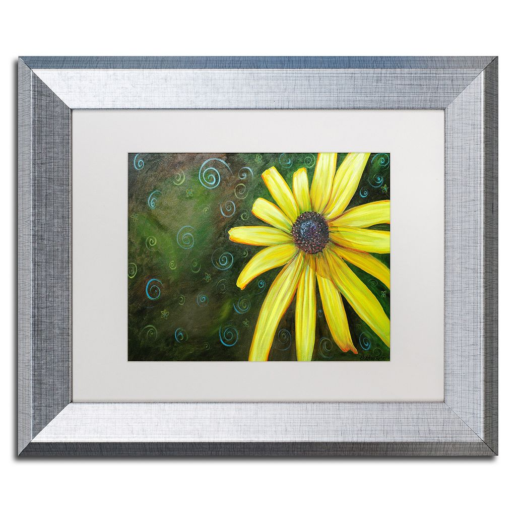 Trademark Fine Art Black Eyed Susan Silver Finish Framed Wall Art