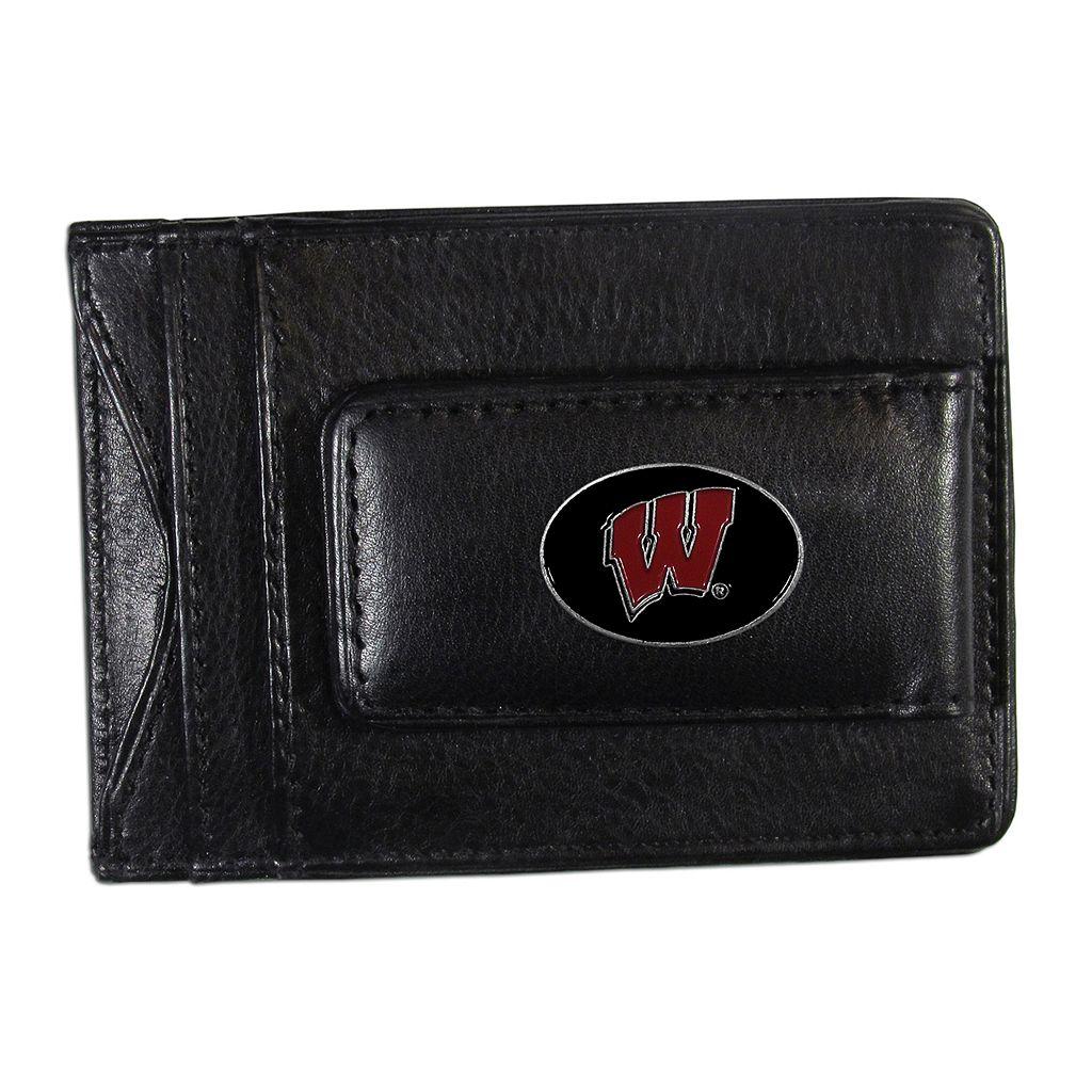 Wisconsin Badgers Black Leather Cash & Card Holder