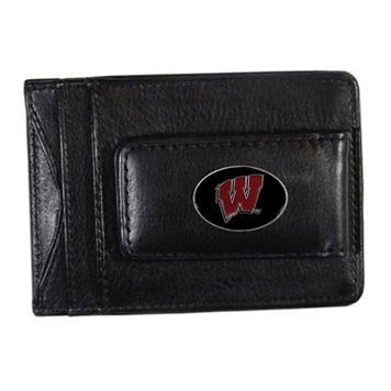 Wisconsin Badgers Black Leather Cash & Card Holder