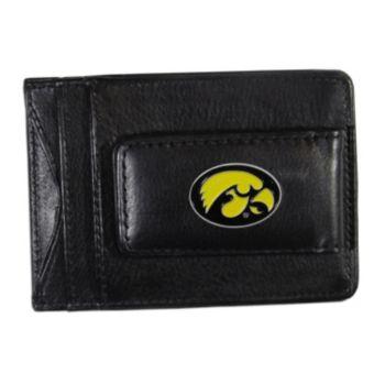 Iowa Hawkeyes Black Leather Cash & Card Holder