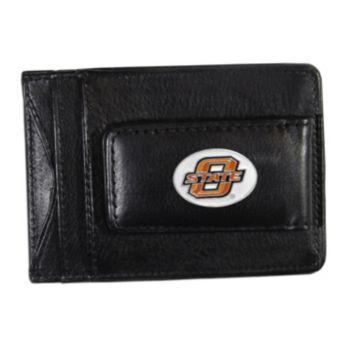 Oklahoma State Cowboys Black Leather Cash & Card Holder