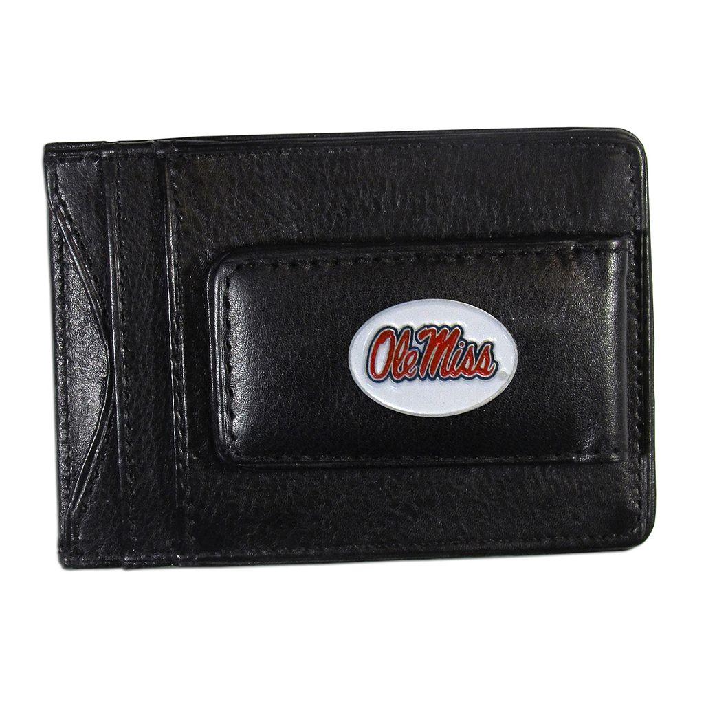 Ole Miss Rebels Black Leather Cash & Card Holder