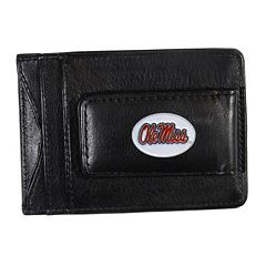 Ole Miss Rebels Black Leather Cash & Card Holder