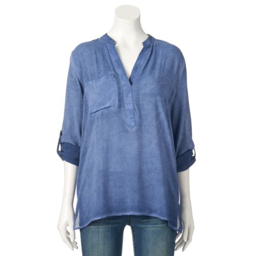 Women's Rock & Republic® Challis Henley Shirt