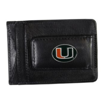 Miami Hurricanes Black Leather Cash & Card Holder