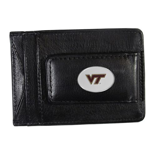 Virginia Tech Hokies Black Leather Cash & Card Holder