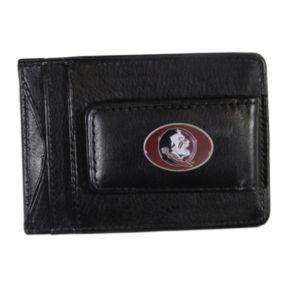 Florida State Seminoles Black Leather Cash & Card Holder