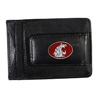 Washington State Cougars Black Leather Cash & Card Holder