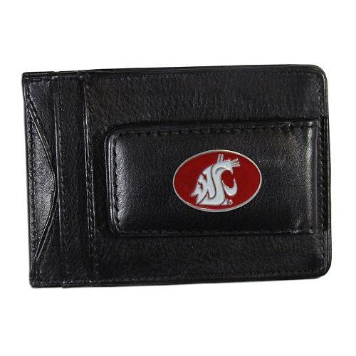 Washington State Cougars Black Leather Cash & Card Holder