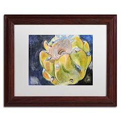 Trademark Fine Art Cactus Fruit Wood Finish Framed Wall Art