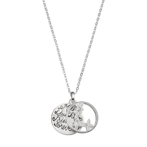 Silver Expressions by LArocks Silver Plated Cubic Zirconia Mother Daughter Flower Pendant