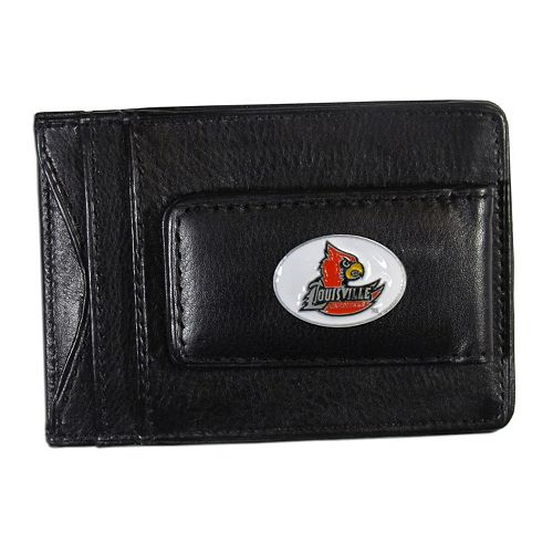 Louisville Cardinals Black Leather Cash & Card Holder
