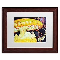 Trademark Fine Art Chattanooga Jelly Fish Wood Finish Framed Wall Art