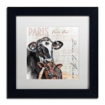 """Trademark Fine Art Dans """"la Ferme"""" Cow Black Framed Wall Art"""