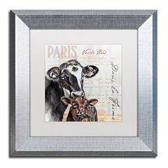 Trademark Fine Art Dans 'la Ferme' Cow Silver Finish Framed Wall Art
