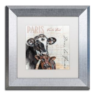 "Trademark Fine Art Dans ""la Ferme"" Cow Silver Finish Framed Wall Art"