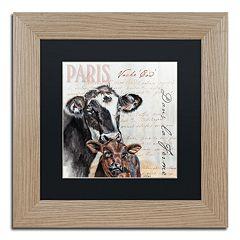 Trademark Fine Art Dans 'la Ferme' Cow Birch Finish Framed Wall Art