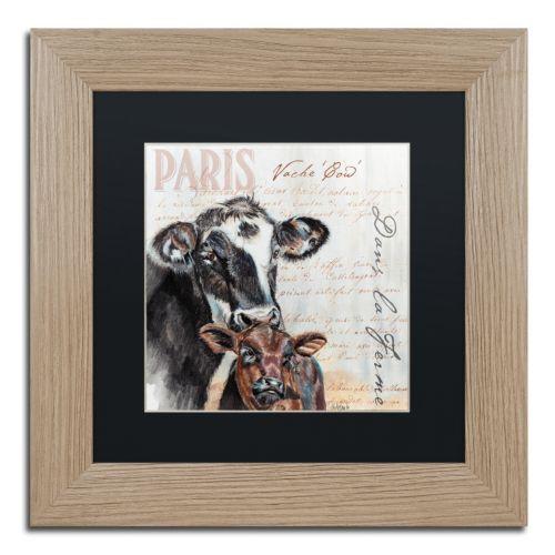 Trademark Fine Art Dans la Ferme Cow Birch Finish Framed Wall Art