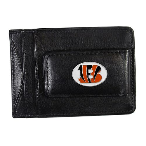 Cincinnati Bengals Black Leather Cash & Card Holder