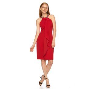 Women's Expo Beaded Ruffle Halter Dress
