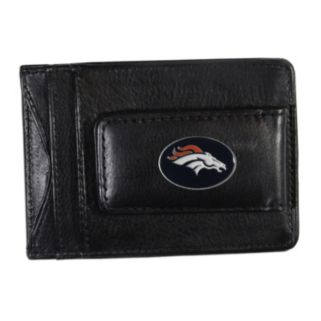 Denver Broncos Black Leather Cash & Card Holder