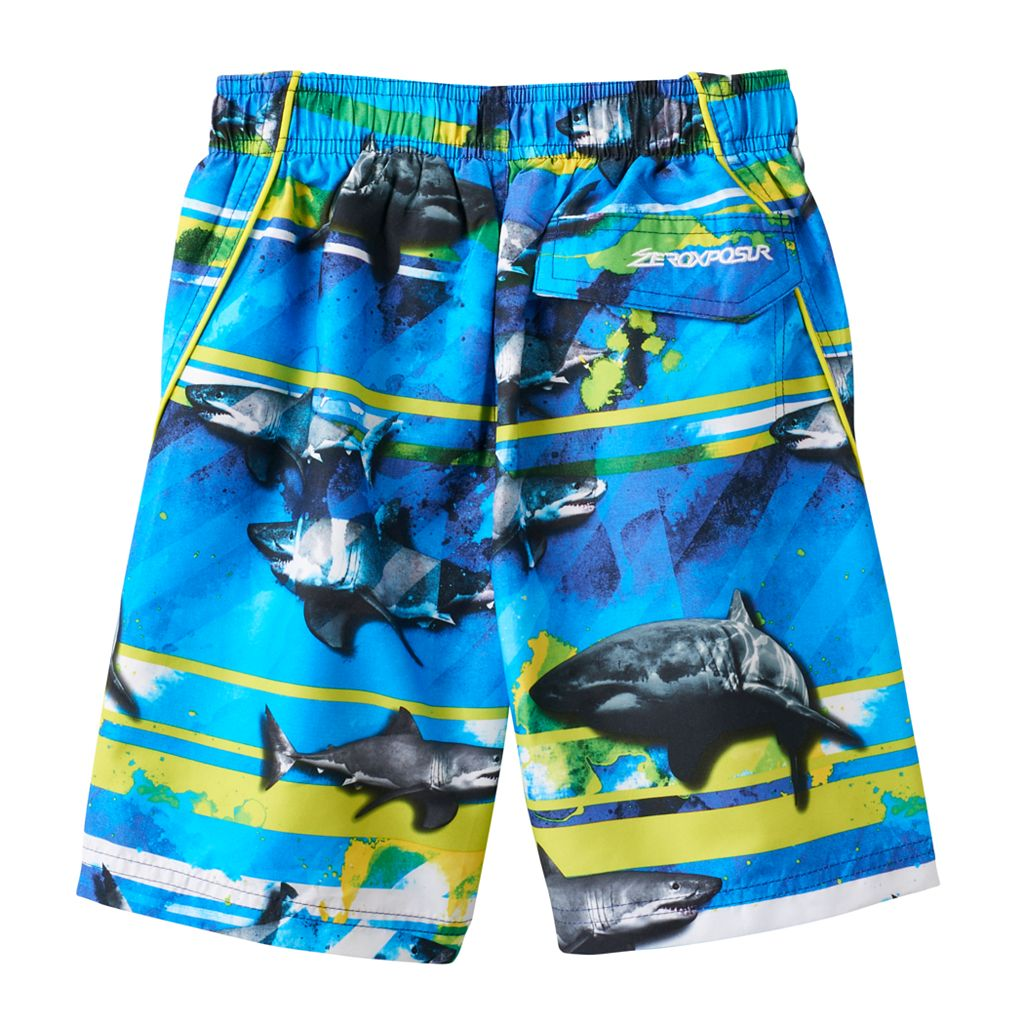 Boys 4-7 ZeroXposur Abstract Sharks Swim Trunks